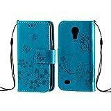 zoeview Cover Custodia per S4 Mini PU Portafoglio Custodia Cover Protettiva in Pelle Libro per Samsung Galaxy S4 Mini Chiusura Magnetica Stand Case Sbalzato Farfalla Fiori - Blu