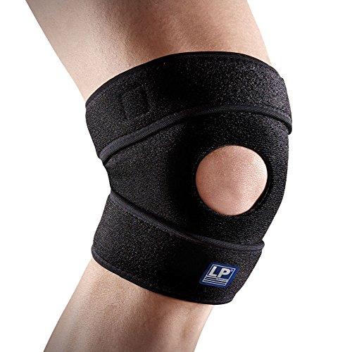 LP Support 788-KM offene Kniebandage aus atmungsaktivem Neopren - verstellbare Sportbandage für Sport & Alltag, Größe:XL, Farbe:1 x schwarz