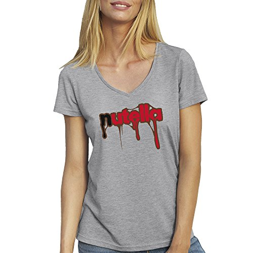 nutella-love-yummy-drips-gris-t-shirt-col-v-pour-les-femmes-medium