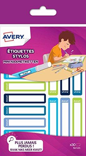 Avery RESMI30G Lot de 30 Etiquettes stylos 50 x 10 mm Bleu/Vert