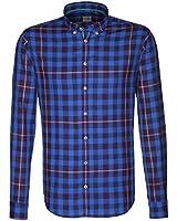 Seidensticker Herren Hemd Schwarze Rose Slim Fit Button-Down-Kragen blau kariert Gr. 39 - 46 / 429725.17