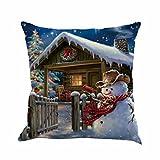 Cuscino di Christmas, Longra 45cm * 45cm / 18'* 18' lino smontabile e lavabile tema di Natale Babbo Natale pupazzo di neve stampa cuscino casi (Multicolore_F)