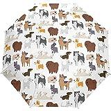 Paraguas De Viaje Cachorro Razas De Perros Auto Abierto Compacto Plegable Protección contra El Sol Y La Lluvia Paraguas con Protección UV A Prueba De Viento