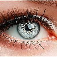 """ELFENWALD farbige Kontaktlinsen ohne Stärke, Produktreihe """"INTENSE"""", ein paar weiche Farblinsen mit Aufbewahrunsbehälter, natürlicher Look GRAU-WEISS/ICY GRAU"""