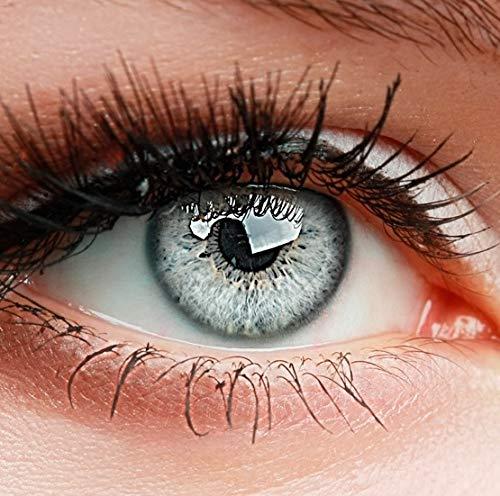 ELFENWALD farbige Kontaktlinsen ohne Stärke, Produktreihe 'INTENSE', ein paar weiche Farblinsen mit Aufbewahrunsbehälter, natürlicher Look GRAU-WEISS/ICY GRAU