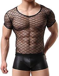 LUFA Hommes Sexy Lingerie Mesh Sheer Transparent Tops Chemises Net T-shirts Maillots de corps (sauf les boxers)