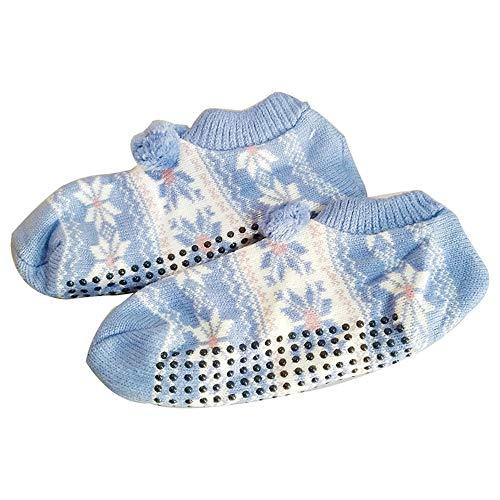 Fenverk 1 Paare Erwachsene Kinder WäRmer Socke Gestrickt Muster Slipper Socken Thermal Schlafen Sie Weich GemüTlich Oben Bett Zuhause Booties Winter Warm GebüRstet Haus Schuh(Sky Blue,Erwachsene) -