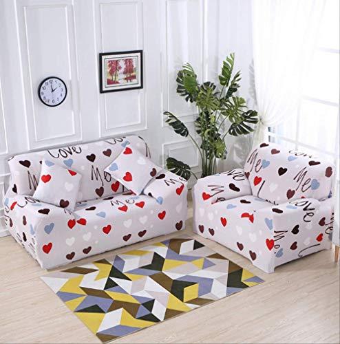 Dyb&home copridivano elasticizzato , protezione per mobili jacquard amore beige/colorato , fodera 1/2/3/4 posti , tessuto morbido in poliestere lavabile in lavatrice