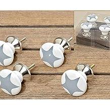 Young Schwinn DESIGN–Pomo para muebles conjunto de 4porcelana estrellas gris