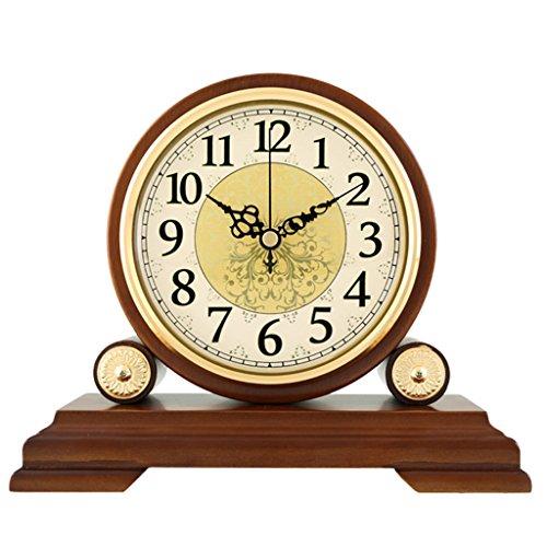 Unbekannt Stille Tischuhr Kaminsims Uhr Wohnzimmer Schlafzimmer American Retro Massivholz Uhr Quarzuhr Ornamente -Max Home (Farbe : Not Reporting Time, Größe : 22.5X19.5cm)