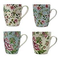 Set of 4 Mugs, High Quality Fine China, Floral Design