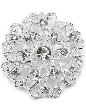 Elixir77UK silberne Blumen-Brosche, strassbesetzt, Ideal für Hochzeiten