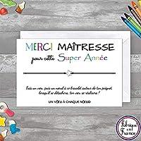 Carte de voeux Merci Maîtresse + Bracelet porte bonheur Etoile