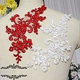 Hochzeit Stickerei Appliques auf Blumen Handmade DIY Bridal Kopf Zubehör Materialien Lace Bekleidungszubehör,Großes Rot