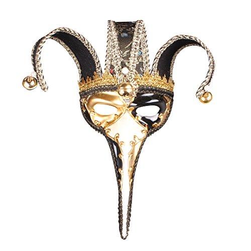 Ball Kleid Kostüm Masquerade - Roman griechischen venezianischen Masken Masquerade Maske Halloween Kostüm Ball Party Kleid Dekoration Supplies Lange Nase Maske mit Persönlichkeit Karneval Make Up Schwarz