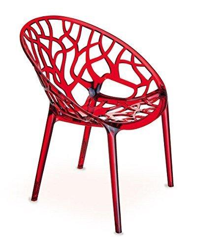 Roter Stuhl Galerie (Ghost chair Armlehnstuhl Plexiglas. Schickes Design, hochwertige Verarbeitung, komfortables Sitzen, Für Außen und Innen geeignet. Abbildung in Transparent Rot)
