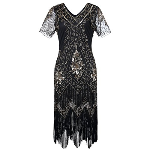 JaosWish Gatsby 1920s Flapper Dress Women Vintage Sequin Fringe Beaded Art Deco Fancy Dress with Sleeve for Party Prom