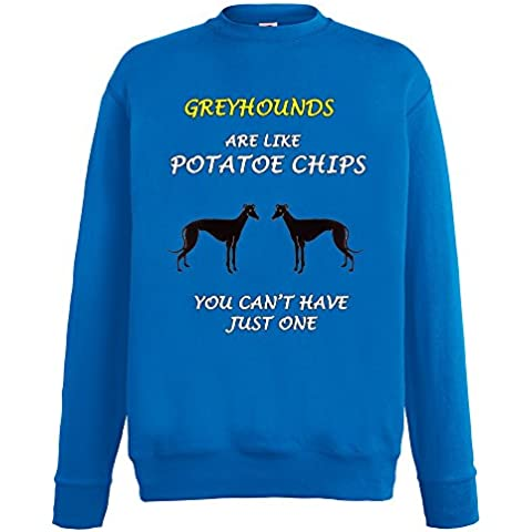 Dogs are like Chips Collezione 1, Fruit of the Loom Royal Mens Sweatshirt Uomo Felpa (Greyhound Dog Stampa)