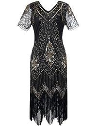 Gatsby 1920s Flapper Dress Women Vintage Sequin Fringe Beaded Art Deco  Fancy Dress with Sleeve for 1226ee18be0c