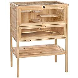 TecTake Grande Cage en bois pour petits rongeurs 4 étages
