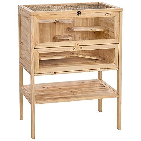 Hamster Russe - TecTake Grande Cage en bois pour petits