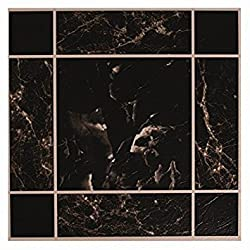 20 x BLACK MARBLE EFFECT SELF ADHESIVE STICK ON VINYL FLOOR TILES - KITCHEN BATH by ITP