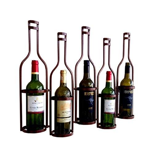 Etagère à bouteille Rétro mural étagères à vin debout debout en fer libre métal ornements bouteilles de vin titulaire décoration murale présentoir, L65 * D10 * H52cm (Couleur : Brown)