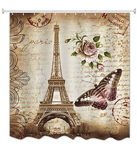 A.Monamour Braun Gefleckte Hintergründe Blumenschmetterling Paris Eiffelturm Postkarte Mit Stempeldruck Wasserdicht Schimmel Stoff Polyester Widerstandsfähiger Duschvorhang Für Bad 180X200 cm