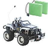 Schwarzer Jeep Buggy Monstertruck HOT Cross Country 1:16, Ferngesteuert, perfekt für Kinder, mit LED Licht und Akku + Zweitakku