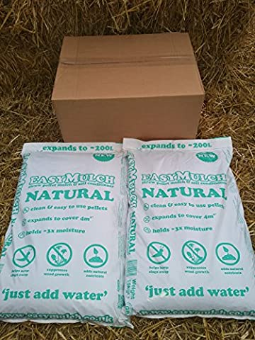 easyMulch® NATURAL STRAW Pellet Mulch & Soil Conditioner (2x15kg bags)