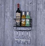 LCTCJJ Wein-Cup-Rack -9/19 / 31nch Weinglas Rack -Hängender Weinflaschenhalter/Rack - Wandmontage - Verschiedene Packungsgrößen erhältlich (1 Halter) (Farbe : SCHWARZ, größe : 25 * 10 * 17CM)
