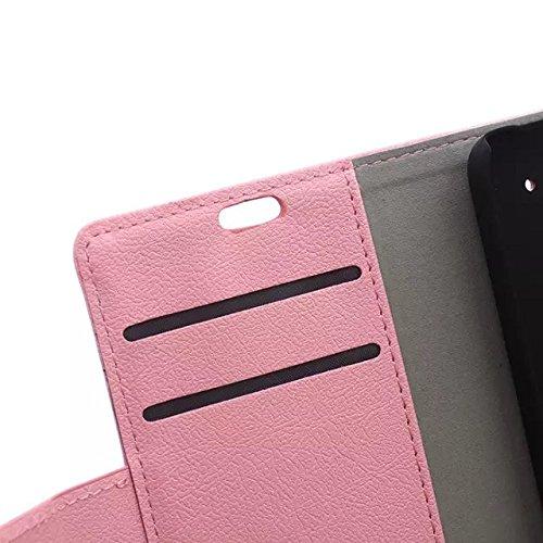 LG G4 Stylus Case, Solid Color Kas Textur Muster Leder Schutzhülle Case Horizontal Flip Stand Case mit Kartensteckplätze für LG G4 Stylus ( Color : Black , Size : LG G4 Stylus ) Pink