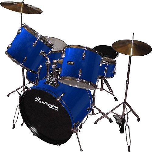 santander-set-de-batterie-complet-support-cymbales-tabouret-bleu