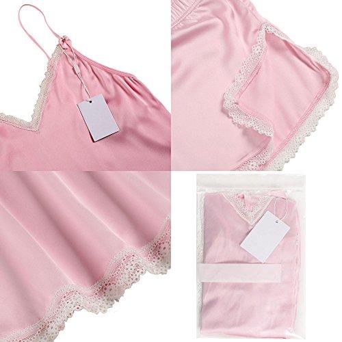 Lonlier Pigiama due pezzi donna con pizzo camiciola V-collo accogliente e Pantaloncini elegente Rosa