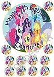 """My Little Pony 1 x 7,5 """"& 1,5 x 12"""" rund Fondant essbaren Kuchendeckel und mit Ihrer individuellen Gruß gedruckt (Geburtstag-Pack)"""