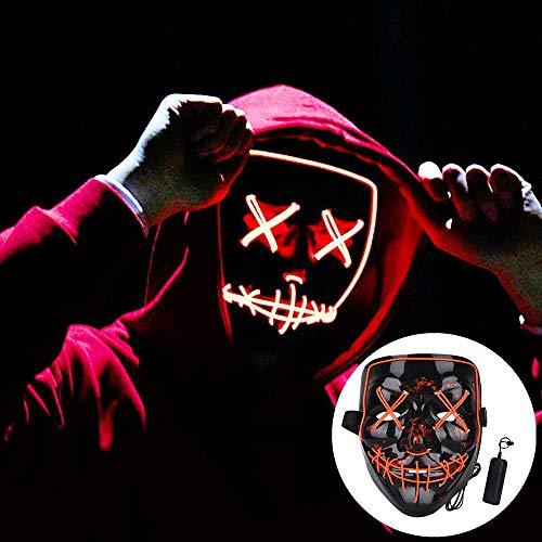 ELINKUME Halloween Maske LED Rotlicht Halloween Karneval Nacht Ghost Dance Erwachsene Unisex Fluoreszierende dekorative Requisiten Schwarz V Horror leuchtende LED Grimasse Kaltlicht - Gruselig Modern Dance Kostüm