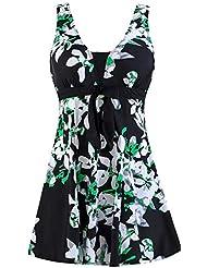 Wantdo Traje de Baño 1 Pieza para Mujer Monokini Estampado Floral