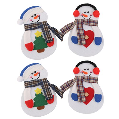 4pcs Christmas Little Snowman Silverware Cutlery Holder Pockets Christmas Dinner Party Decoration