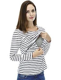 NiSeng Femme Stripes Manches Longues Grossesse Top D'Allaitement Nursing Chemise Maternité T-Shirt