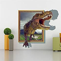 Sucis 3D Running Tyrannosaurus rex Dinosaur Unique Removable Mural Wall Stickers Wall Decal for Home Decor by Sucis