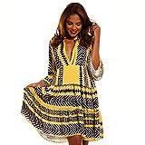 YC Fashion & Style Damen Tunika Kleid Retro Muster Boho Look Party-Kleid Freizeit-Minikleid oder Strandkleid HP219 Made in Italy (One Size, Schwarz)