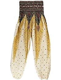Alessioy Pantalon De Linterna Mujer Moda Ocasional Impresión Trendigen  Hippie Vintage Patrón Pantalon Harem Anchas Elastische Taille… f76a335517e9