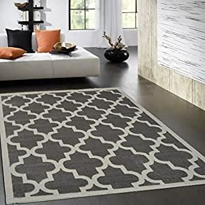 quadrilobe tapis de salon 120x170 cm gris. Black Bedroom Furniture Sets. Home Design Ideas