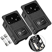 2 piezas IEC 320 C14 Zócalo De Entrada w Fusible Interruptor Oscilante AC 250V 1