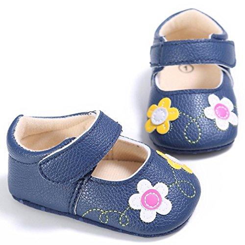 Ouneed® 0- 18 mois Bebe Doux Cuir Premier Pas Fleur (12cm, Blanc) Bleu