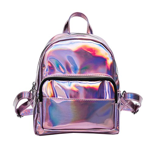 Tinksky Mädchen-Laser-Hologramm-Rucksack beiläufiger Schultasche Minihologramm-Schule-Beutel Schulter-Beutel für Spielraum (Rosa)