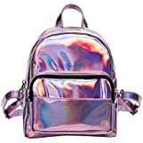 BESTOYARD Holographic Backpack Hologram Satchel School Bag Shoulder Bag Satchel Backpack (Pink)