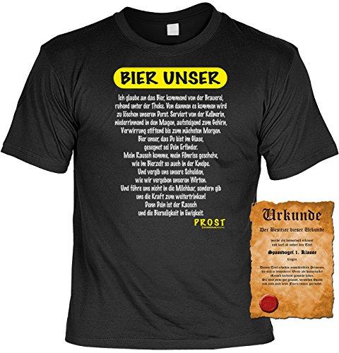 Männer T-Shirt Bier Unser Fun Shirt 4 Heroes Geburtstag Geschenk geil bedruckt mit Spassvogel Urkunde Schwarz