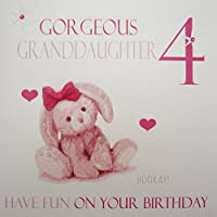 WHITE COTTON CARDS Gorgeous Granddaughter 4, Handmade Age 4 Birthday Card (Pink, Bunny)