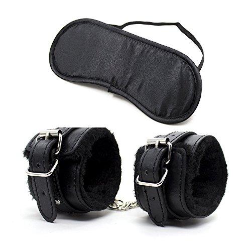 van-guard Einstellbare PU Leder Handschellen mit Eyemask